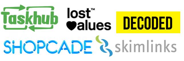 Taskhub, Lost Values, Decoded, Shopcade, Skimlinks