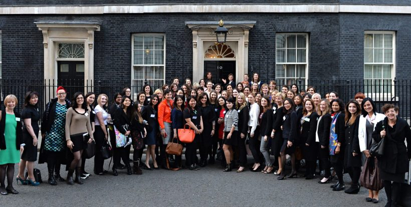 100 incredible women outside downing st.