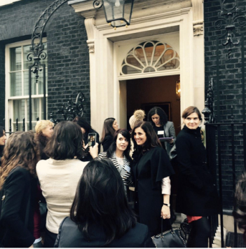 Ladies entering 10 Downing Street